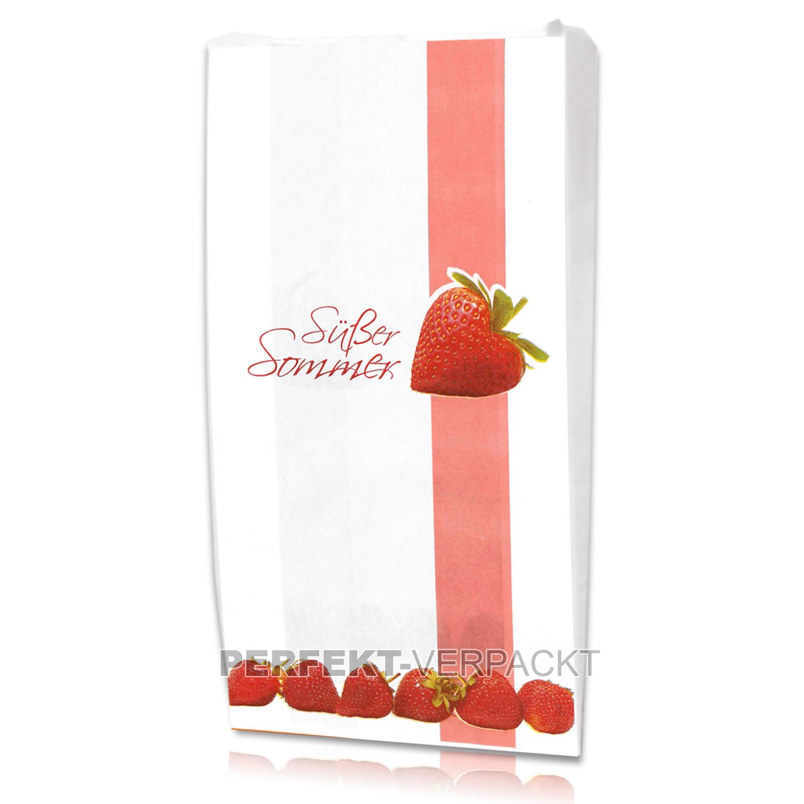 """1000 Faltenbeutel """"Süßer Sommer, Erdbeeren 14x5,5x28cm"""