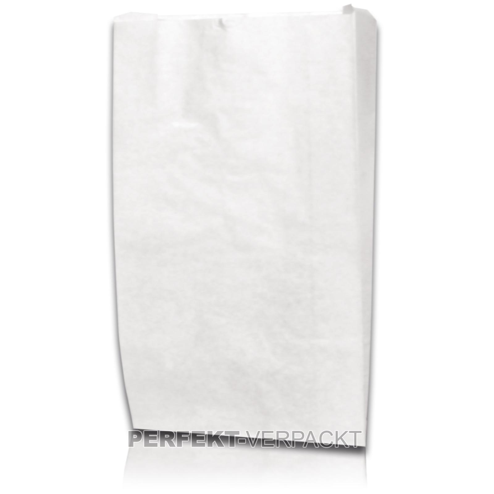 1.000 Faltenbeutel 12x5x23cm #54a  weiß unbedruckt Pergamentersatz