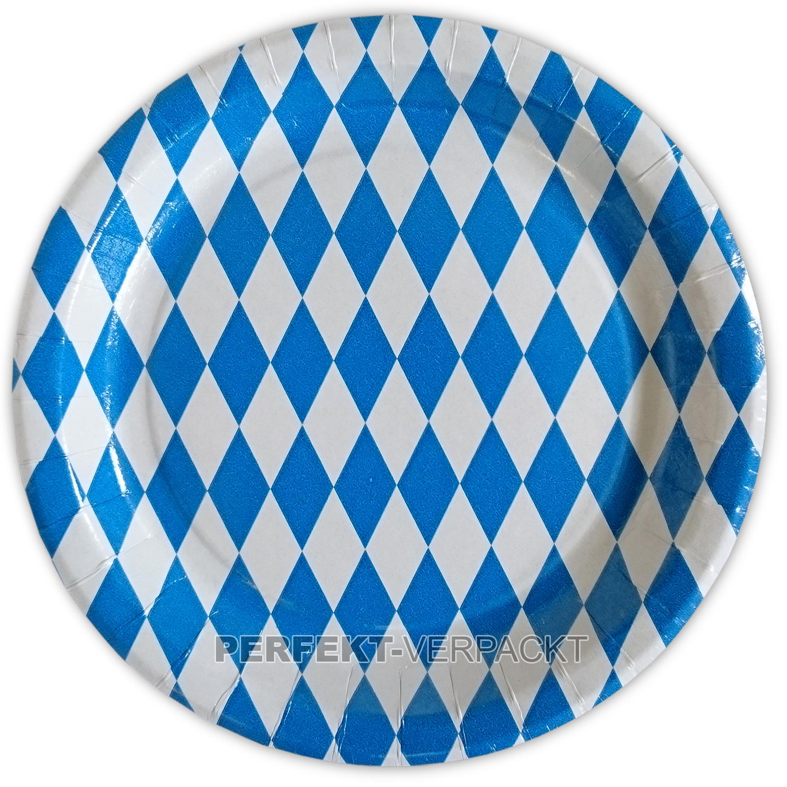 """100 Pappteller rund 23cm """"BAVARIA"""" Raute blau / weiß beschichtet"""