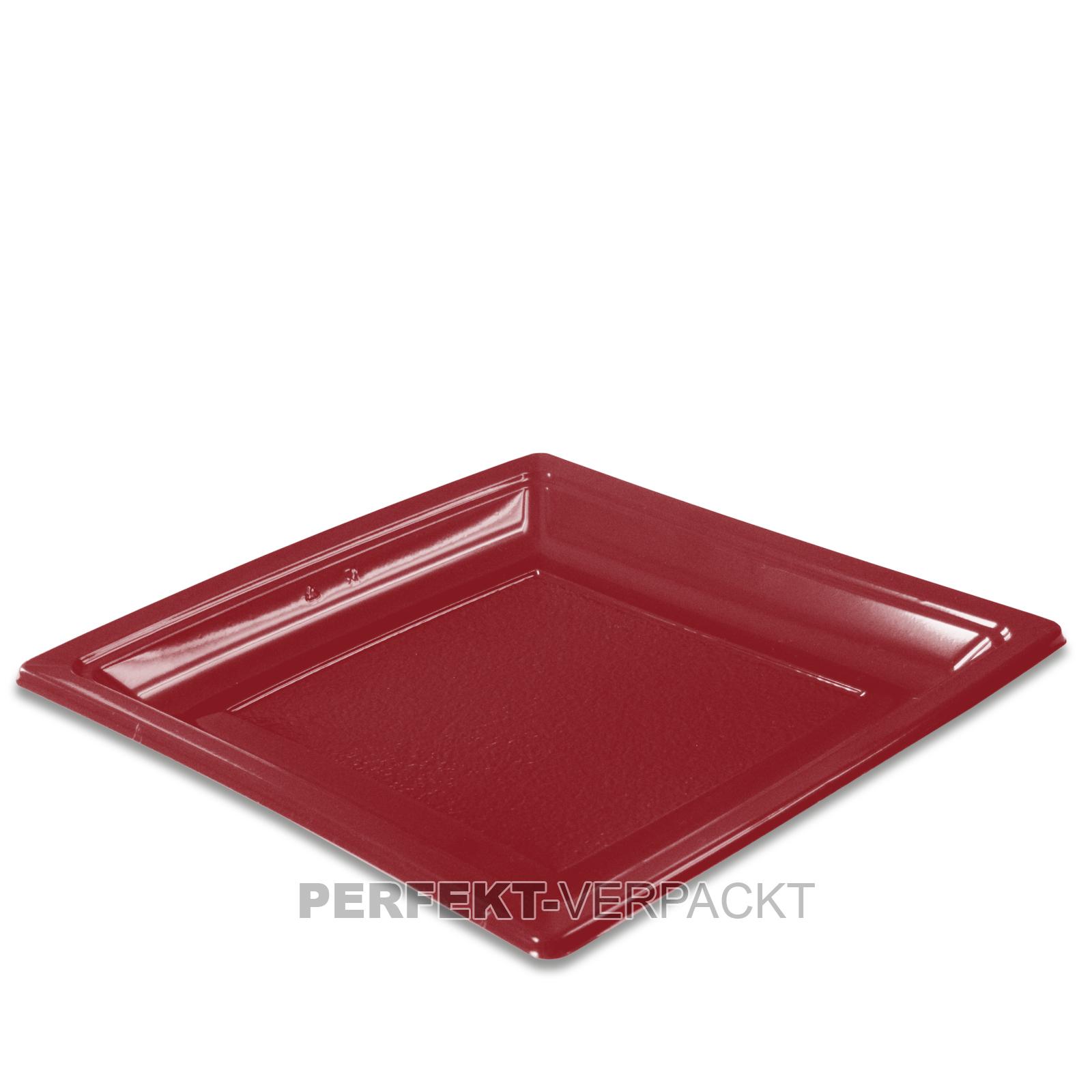 400 Teller quadratisch 18,4x18,4cm BURGUNDERROT aus PS