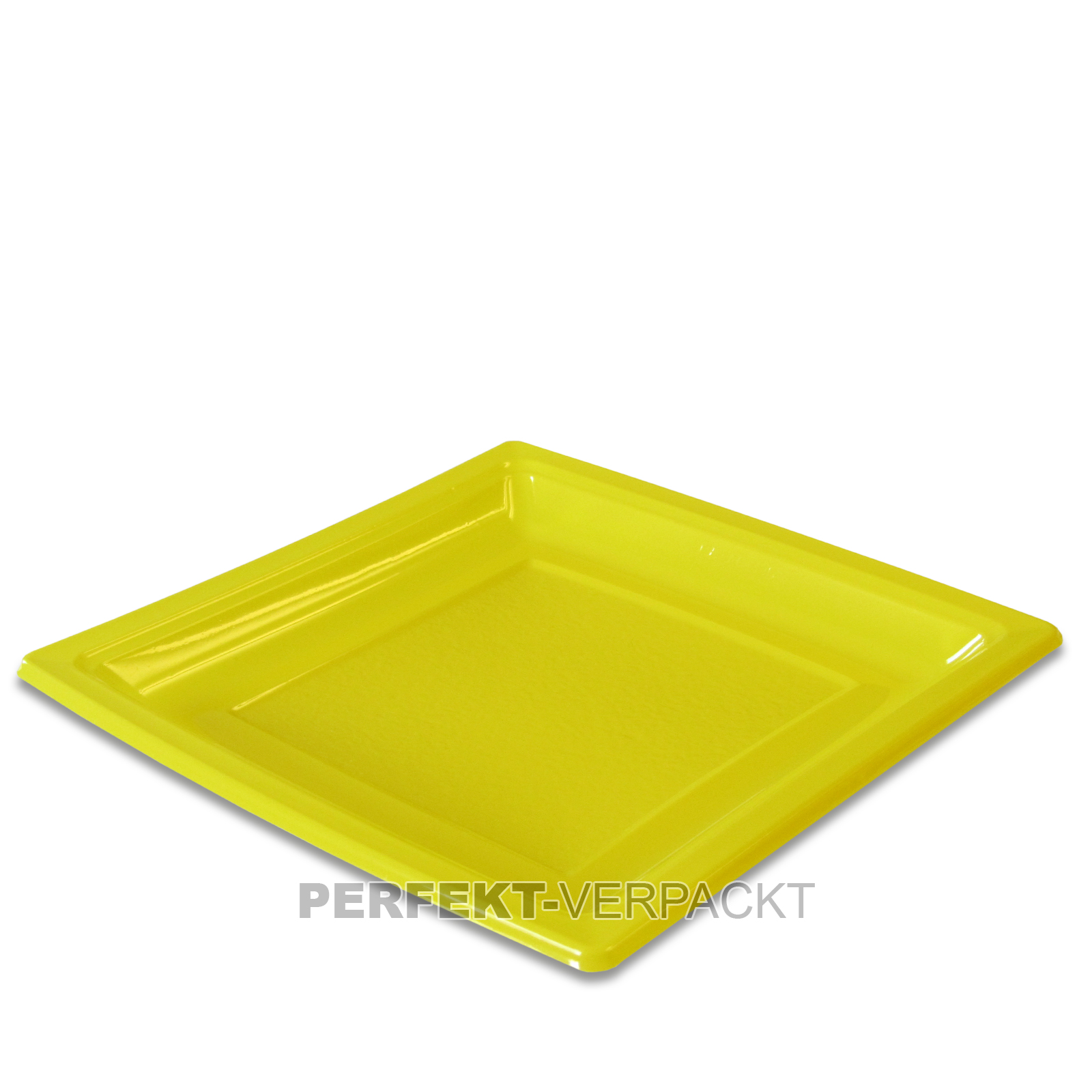 400 Teller quadratisch 18,4x18,4cm GELB aus PS