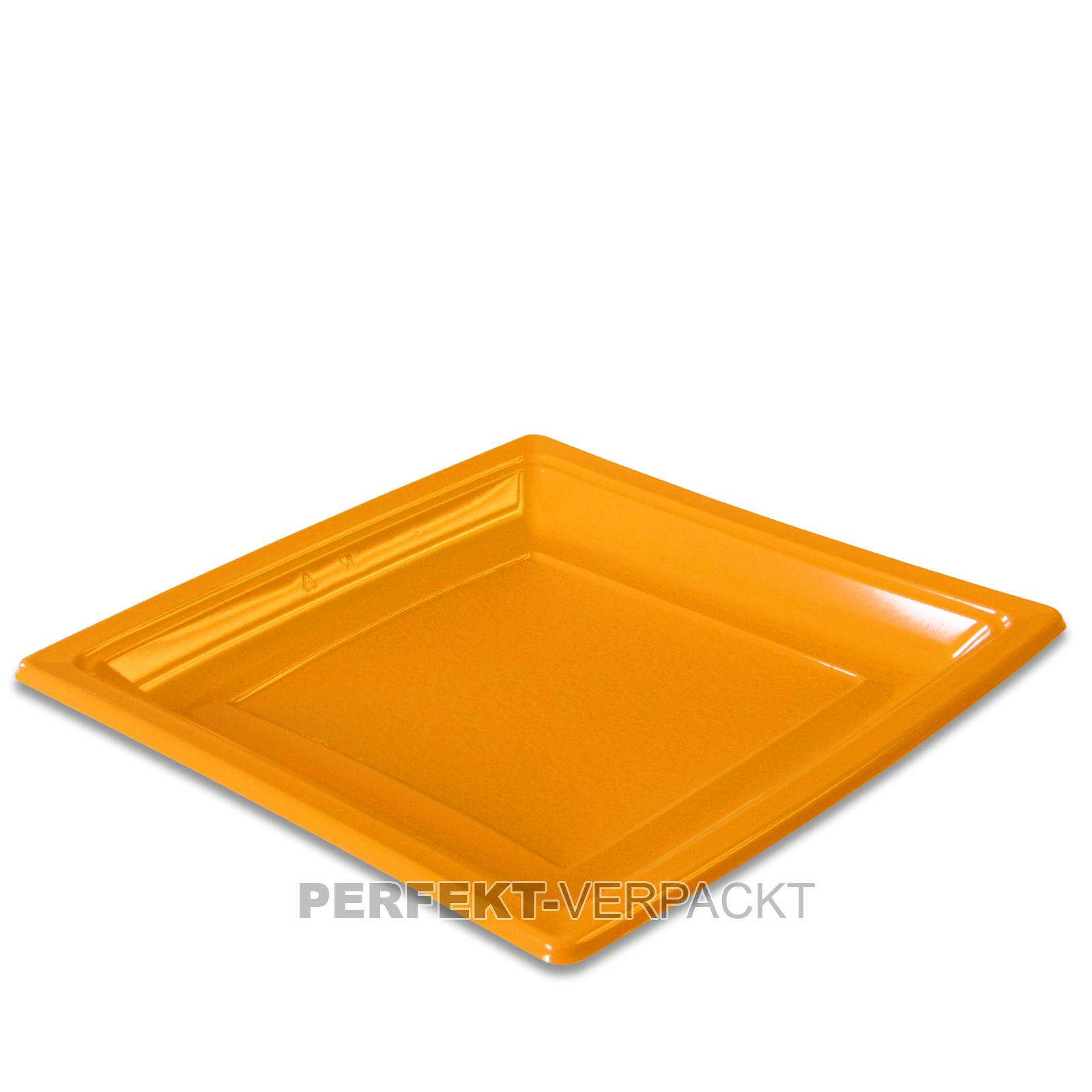 400 Teller quadratisch 18,4x18,4cm orange aus PS