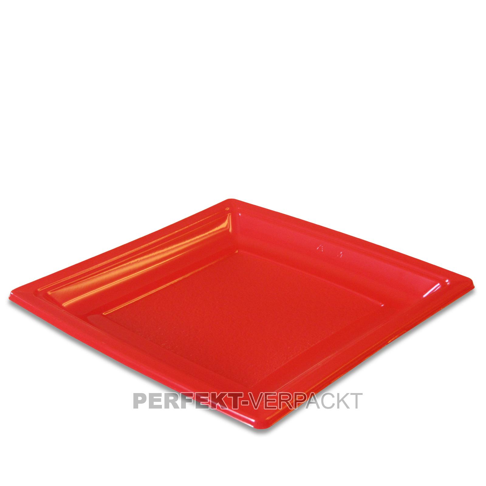 400 Teller quadratisch 18,4x18,4cm rot aus PS